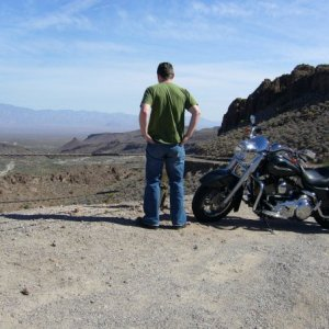 Rented Road King in the Black Mountains, Arizona